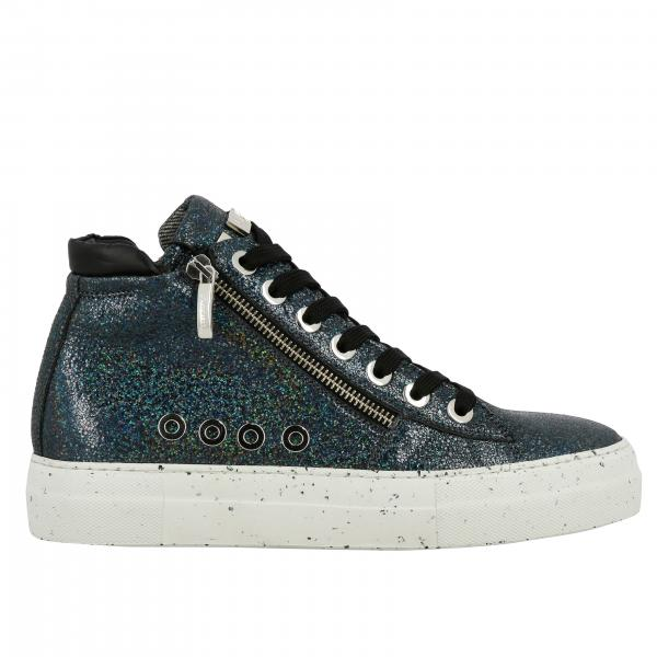 Ramones Paciotti 4US sneakers in glitter leather with macro zip and logo