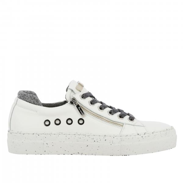 Ramones Paciotti 4US sneakers in leather and glitter canvas with macro zip and logo
