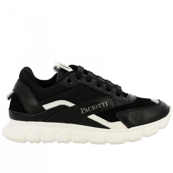 Paciotti 4US sneakers in suede leather and micro-net with logo