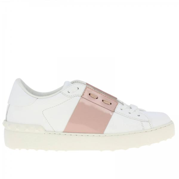 Valentino Garavani Open Rockstud lace-up sneakers in genuine leather with patent leather band