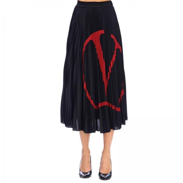 Юбка Valentino из плиссированной ткани джерси с логотипом VLTN