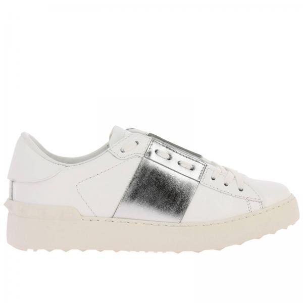 Sneakers Open Rockstud Valentino Garavani stringata in vera pelle con banda laminata