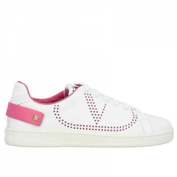 Valentino Garavani Backnet leather sneakers with micro perforated logo