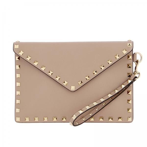 Valentino Garavani Rockstud Clutch Bag In Genuine Leather With Studs by Valentino Garavani