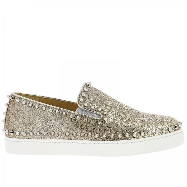 timeless design d87a0 9df71 Pik boat slip on christian louboutin sneakers in glitter leather with studs