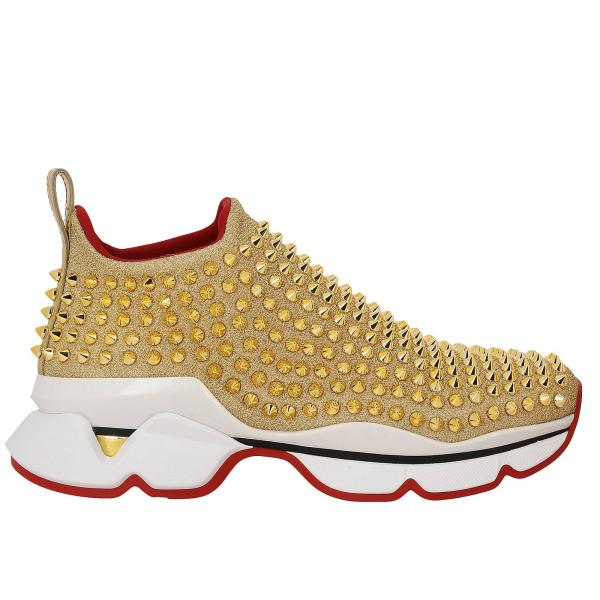 Sneakers Spikes socks slip on Christian Louboutin in tessuto lurex con borchie
