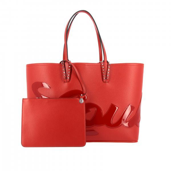 A Louboutin Borsa Pelle 3195315 RossoCabata Large Borchie Spalla Donna Shopping In Metalliche Con Martellata Christian jLUGqpMVSz