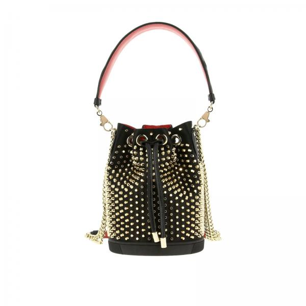 Borsa a secchiello Marie jane Christian Louboutin in pelle con borchie all over