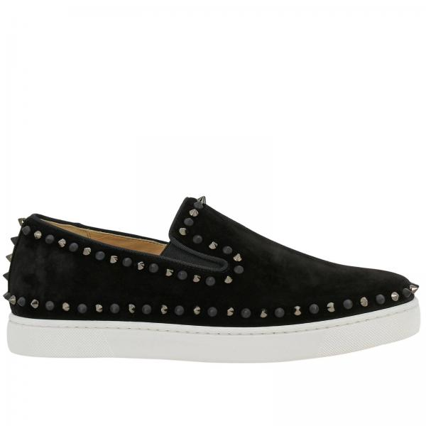 Pik boat slip on Christian Louboutin sneakers in suede with studs