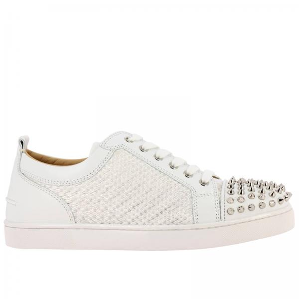 Ac Louis Junior Spikes Christian Louboutin Sneakers In Smooth Leather And Mesh With Studded Toe