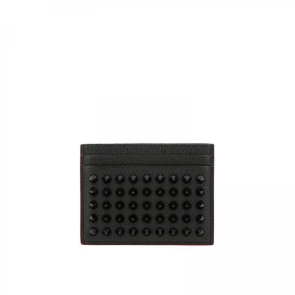 Kios card holder in genuine hammered leather with studs