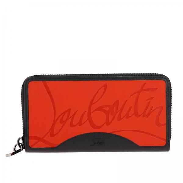 Panettone wallet in textured leather and Louboutin rubber on the back