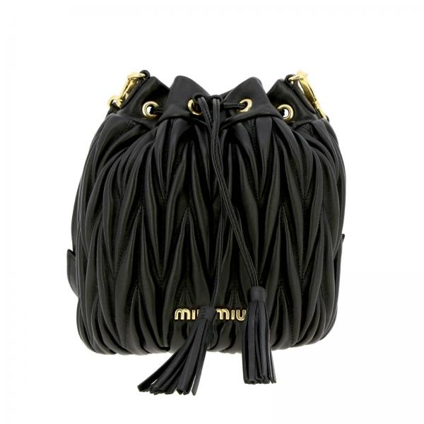 Miu Miu small bucket bag in genuine matelassé leather