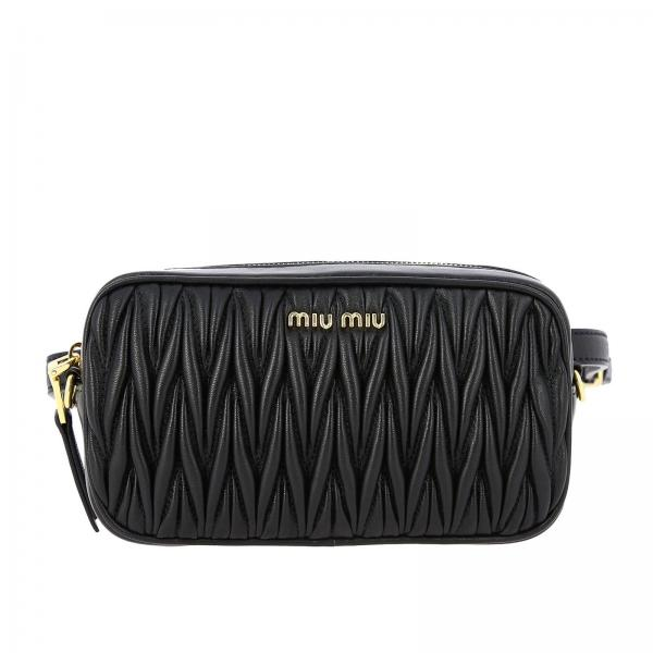 Belt bag / Bag in Matelassé genuine leather with Miu Miu logo