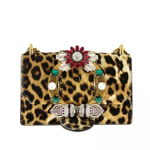 Miu Miu shoulder bag in calfhair with jewel buckle