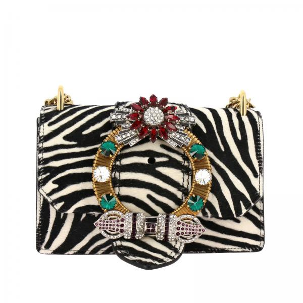 Miu Miu shoulder bag in zebra printed calfhair with jewel buckle