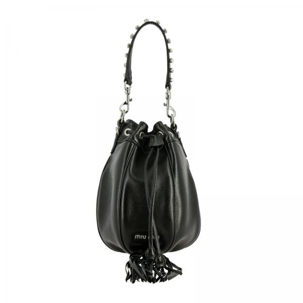 Miu Miu bucket bag in leather with fringe