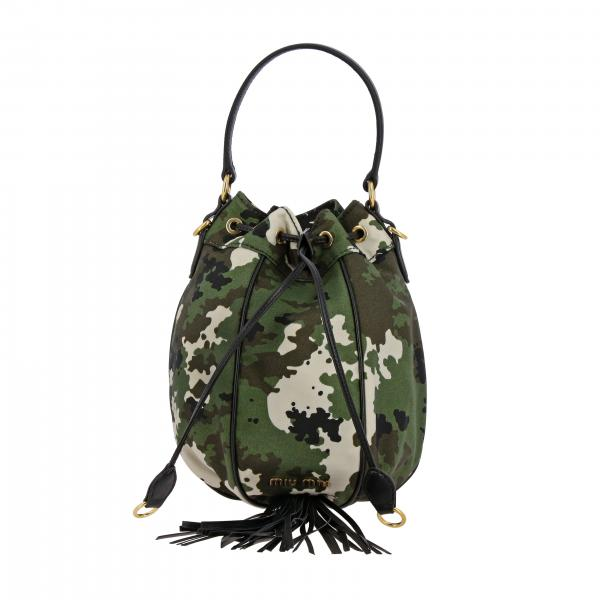 Miu Miu bag in leather and camouflage canvas with fringes