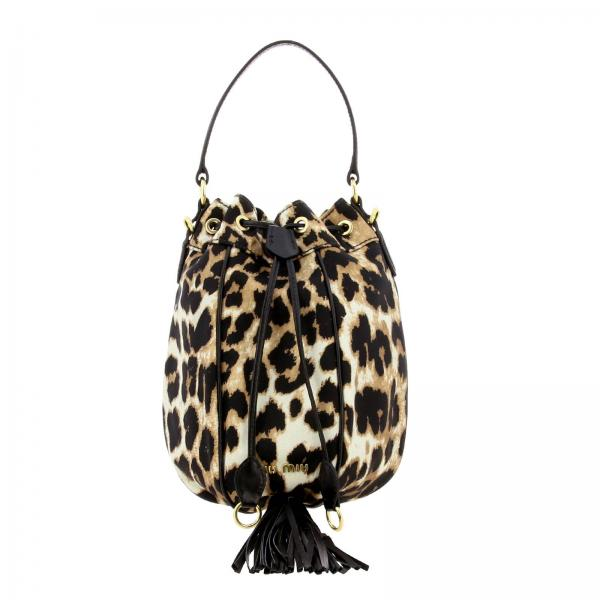 Miu Miu bucket bag in leather and animalier canvas with fringe