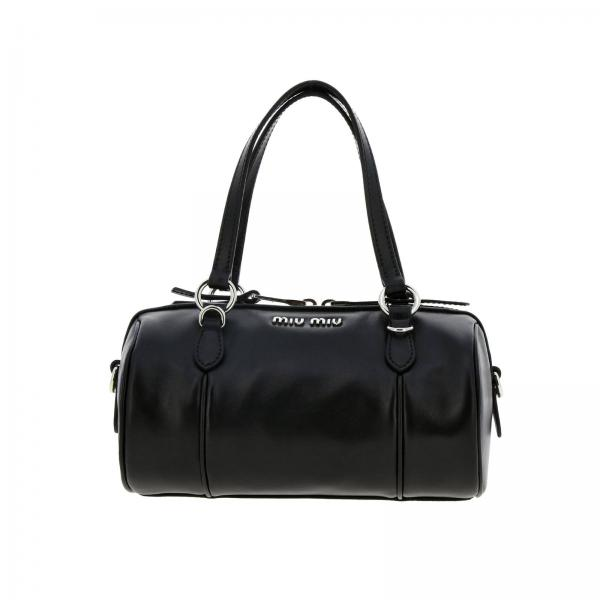 Miu Miu bag in smooth leather with logo and shoulder strap