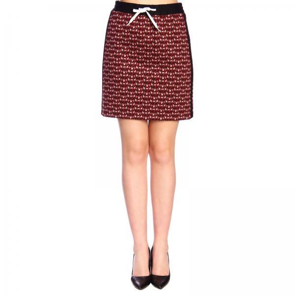 Minifalda de punto Miu Miu con logo y bandas laterales