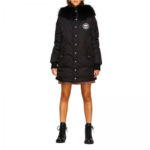 Miu Miu down jacket with rhinestone logo and hood with fur edges