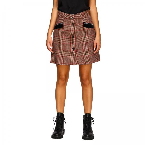 Miu Miu skirt in check wool with velvet and rhinestone details