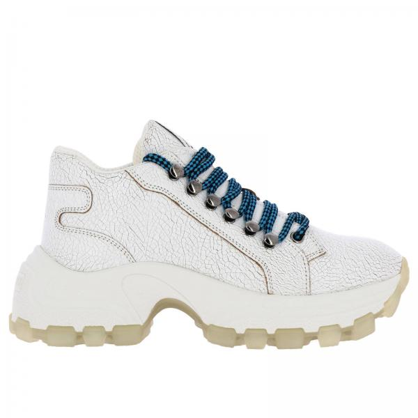 Miu Miu running sneakers in craquelé leather with trekking laces