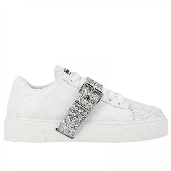 Sneakers Miu Miu in fancy leather with glitter buckle