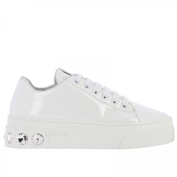 Miu Miu lace-up sneakers in patent leather with rhinestones