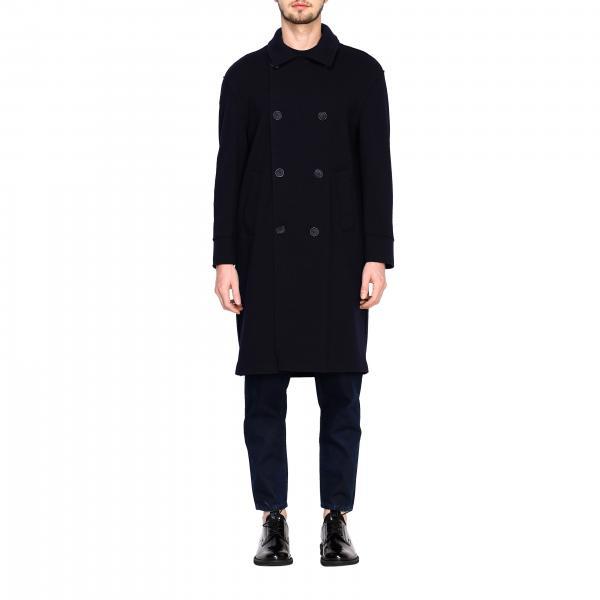Cappotto Giorgio Armani a doppiopetto lungo in lana a taglio vivo