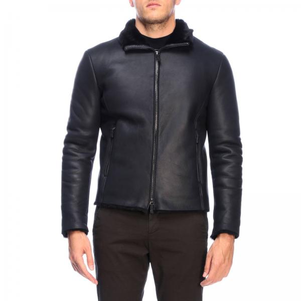 Giorgio Armani short jacket in leather and sheepskin with zip