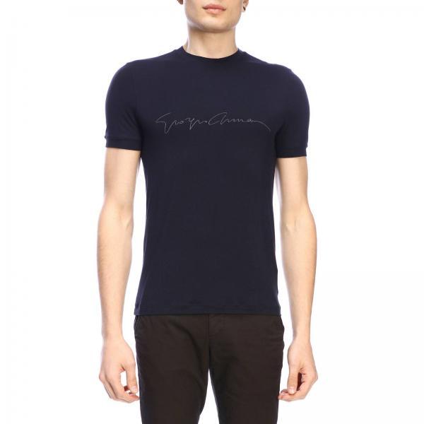 T-shirt Giorgio Armani a girocollo in jersey di viscosa stretch basic con firma