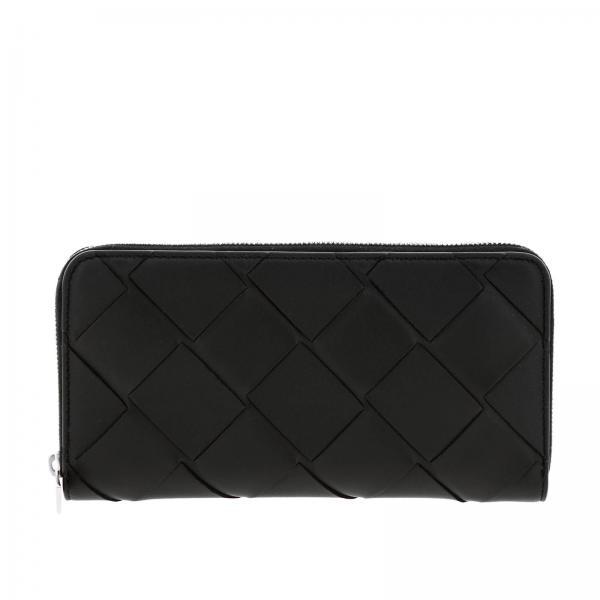 Bottega Veneta continental zip around wallet in woven leather