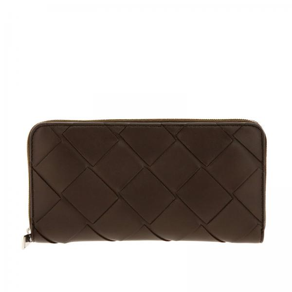 Bottega Veneta continental zip around wallet in woven leather