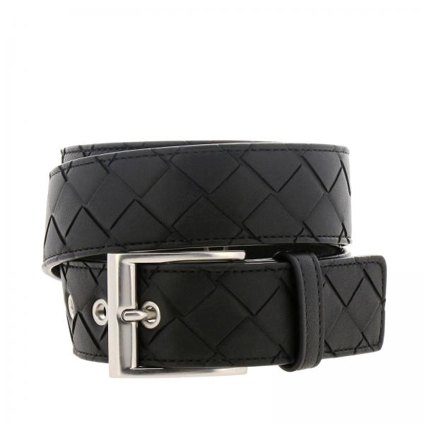 Bottega Veneta Classic belt in woven genuine leather with metal buckle