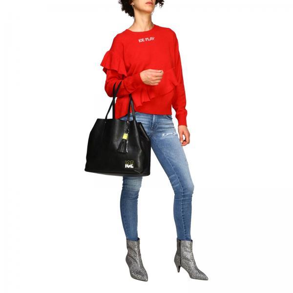 Bag A Borsa Pelle Logo 7284 Ice Con Donna 6921 In NeroShopping Play Spalla Sintetica c5FJTl1uK3