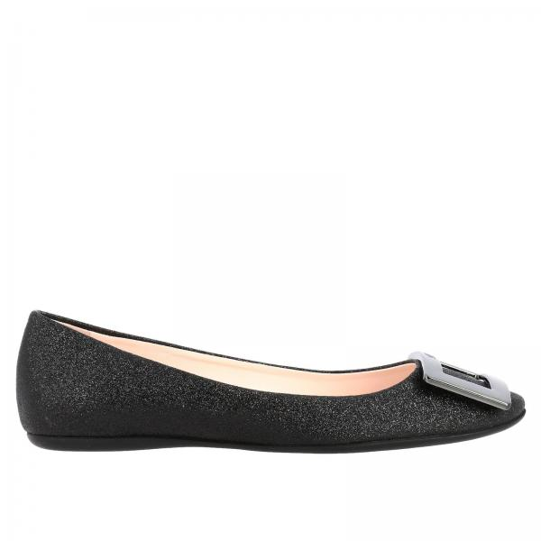 Roger Vivier ballet flats in glitter fabric with metal buckle RV