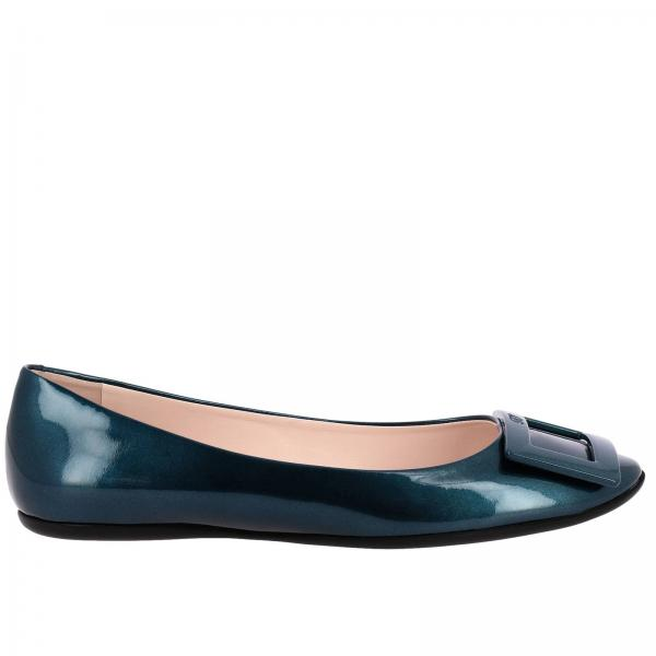 Roger Vivier ballet flats in metallic patent leather with RV plastic buckle
