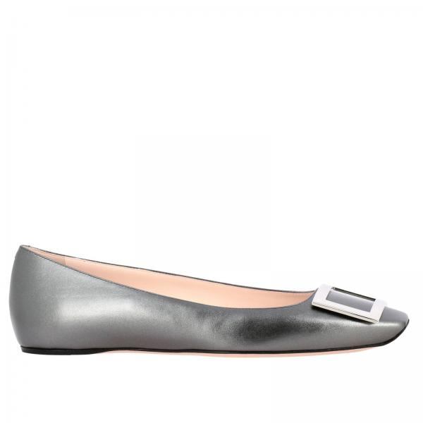 Roger Vivier Trompette ballet flats in laminated leather with metal buckle RV