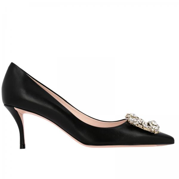 Roger Vivier décolleté in leather with flower buckle and crystals