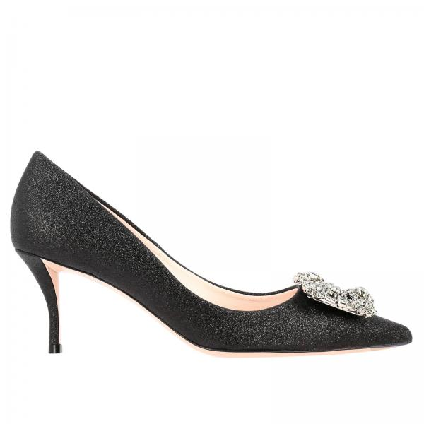 Roger Vivier décolleté in glitter fabric with flower buckle