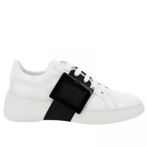 Sneakers Viv' skate Roger Vivier stringata in pelle e vernice con maxi buckle