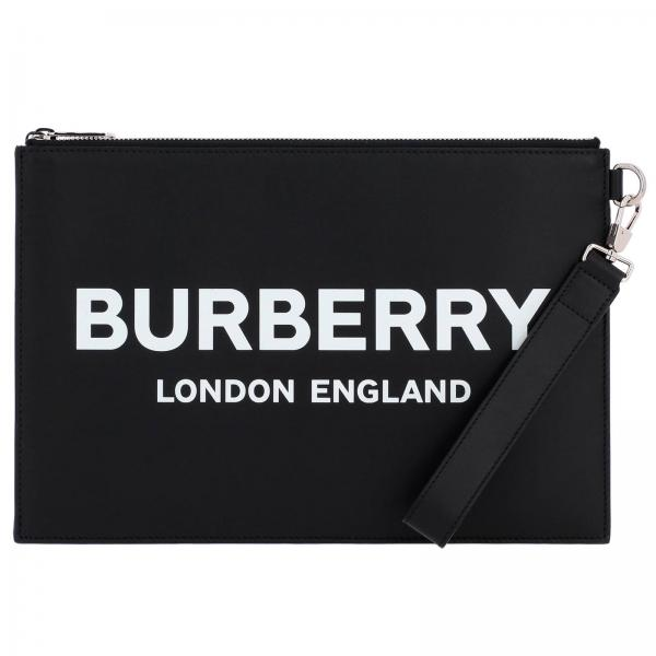 Leather clutch bag with Burberry London England maxi lettering