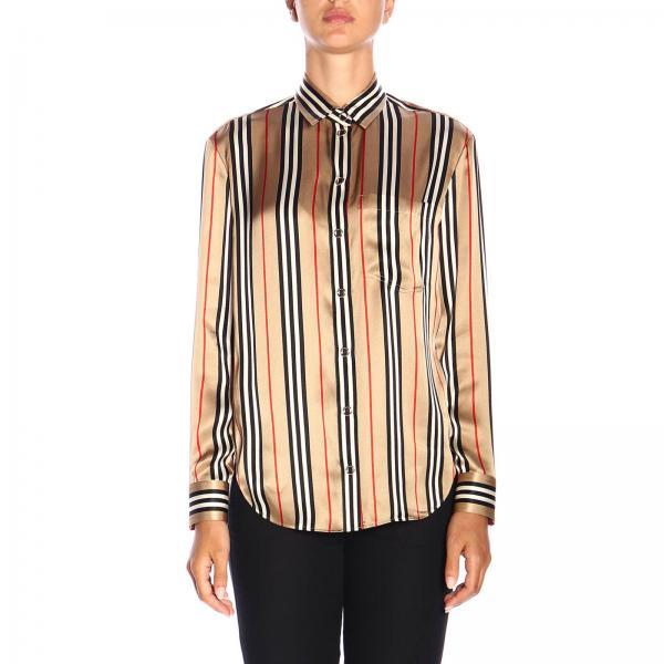 Camicia Godwit Burberry in seta con motivo vintage a righe