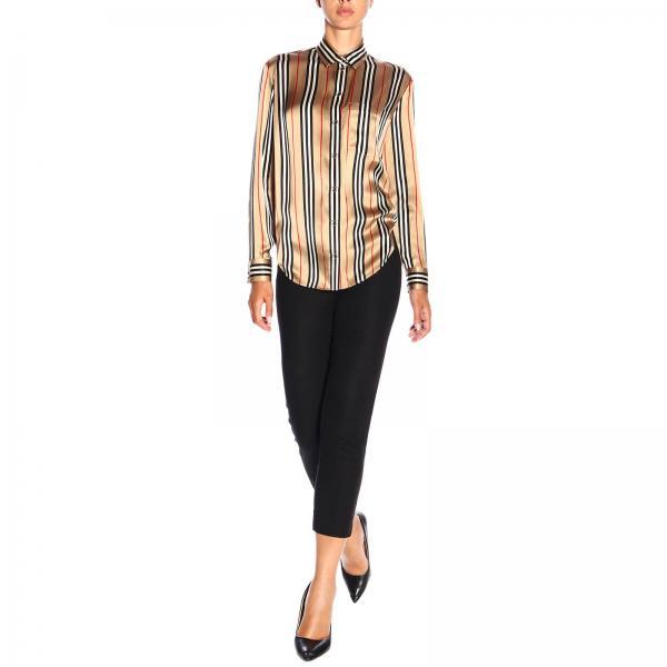 8011074 Vintage Righe Donna Burberry Motivo Seta BeigeGodwit In Camicia Con A O80PnwkX