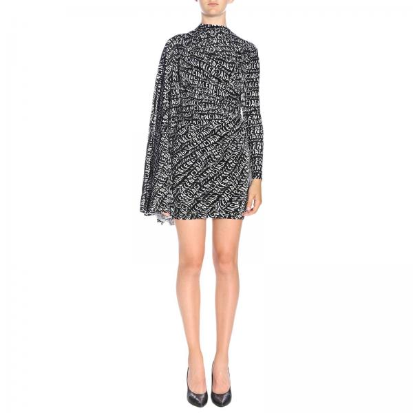 Balenciaga high-neck dress in velvet with all-over print and wide sleeves
