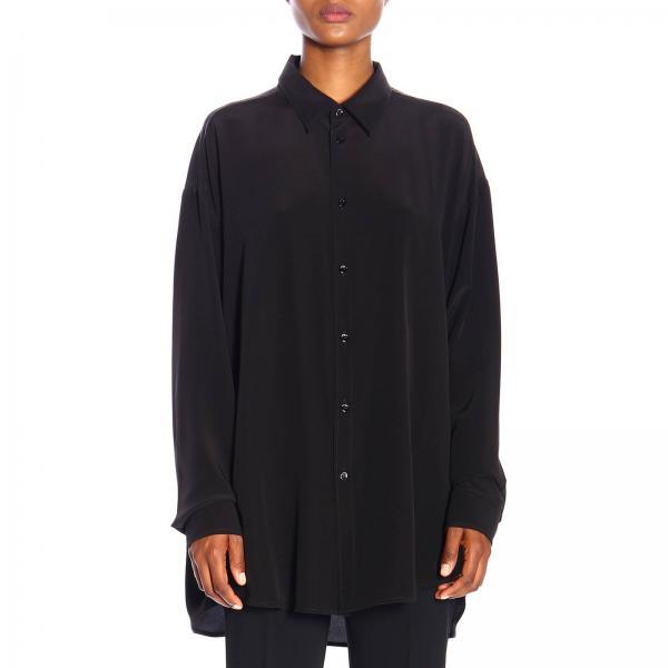 Camicia Balenciaga over in seta con logo posteriore