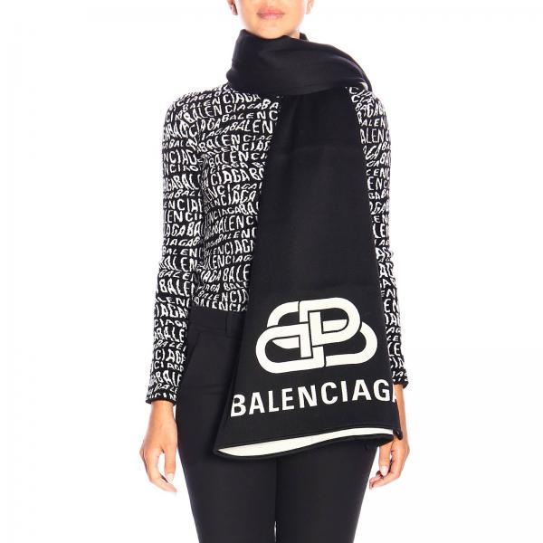 Balenciaga scarf in wool with maxi BB jacquard logo