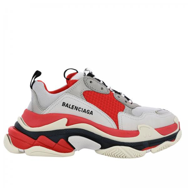 Sneakers Running Triple S Balenciaga in pelle e micro rete con maxi suola over